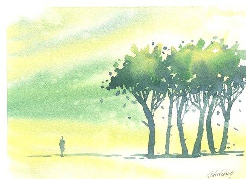 「疗愈系树林系列1-73」水彩手绘限量版明信片/贺卡