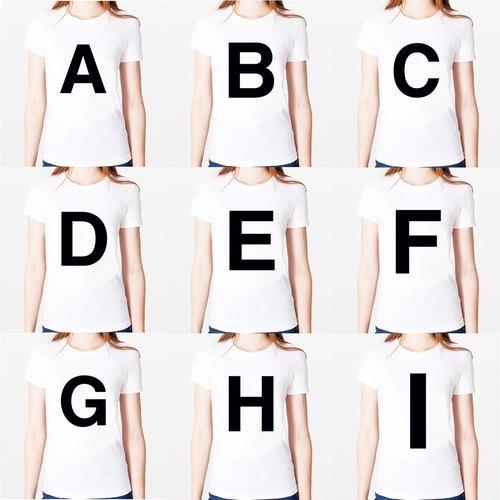 Big A B C D E F G H I 女生短袖T恤-白色 英文字母 文青 藝術 設計 時髦 文字 時尚