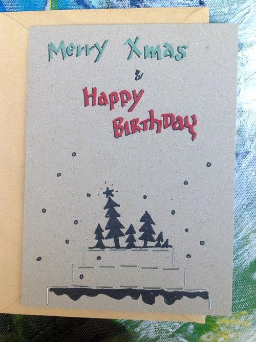 圣诞生日卡片—手绘圣诞蜡烛生日蛋糕ii