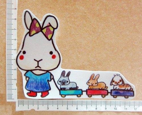 手绘插画风格 完全防水贴纸 兔兔小火车
