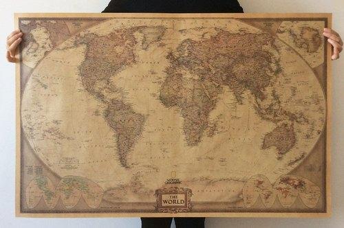 god leading-【海报系列】大世界地图100cm英文怀旧复古牛皮纸大海报