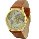 世界地圖手錶金色