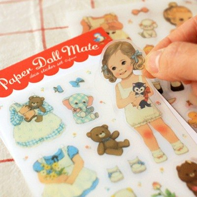 韓國【Afrocat】paper doll mate sticker  (透明底)手帳 貼紙6張 生活 心情 進口