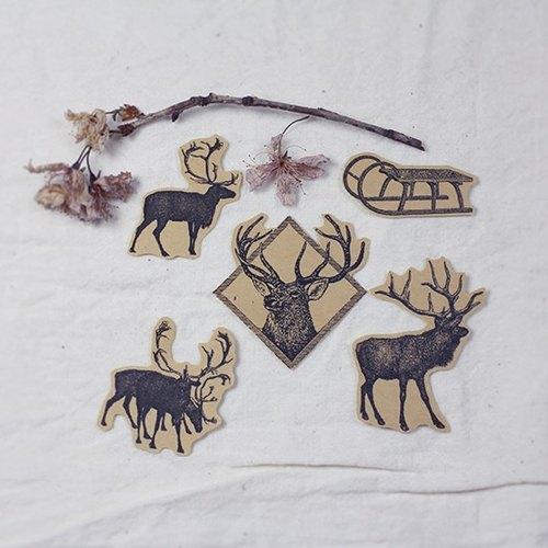 小场景 - 麋鹿雪橇 5枚 手绘牛皮纸插画贴纸