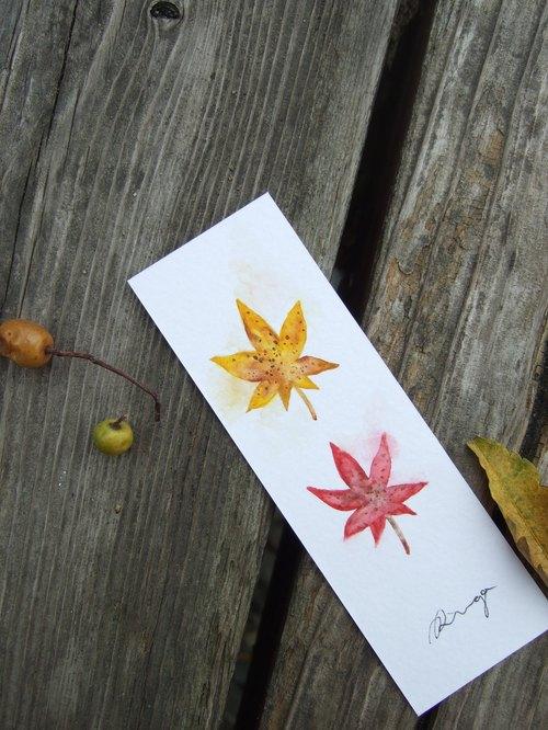 秋天枫叶 手绘水彩书签(原画)