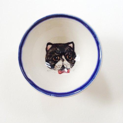 手绘小茶杯-黑白布偶猫