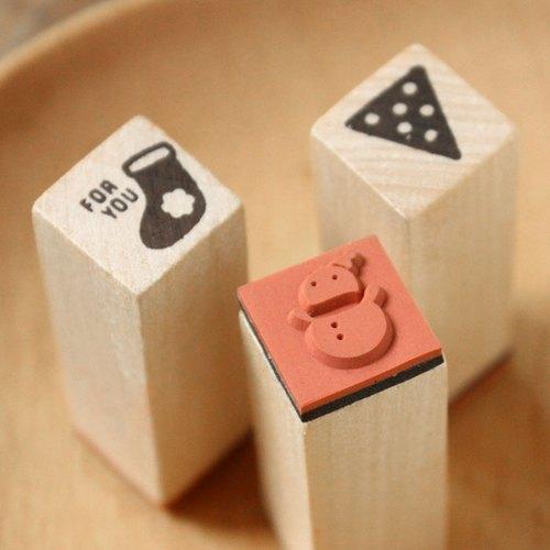 U-PICK原品生活 新年系列木头印章 袜子/小旗/雪人创意 原创 zakkka 印泥