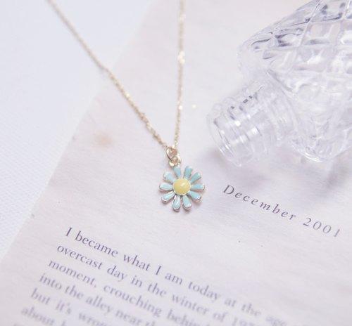 金色 項鍊 ◊ 蒂芬妮藍綠色花花