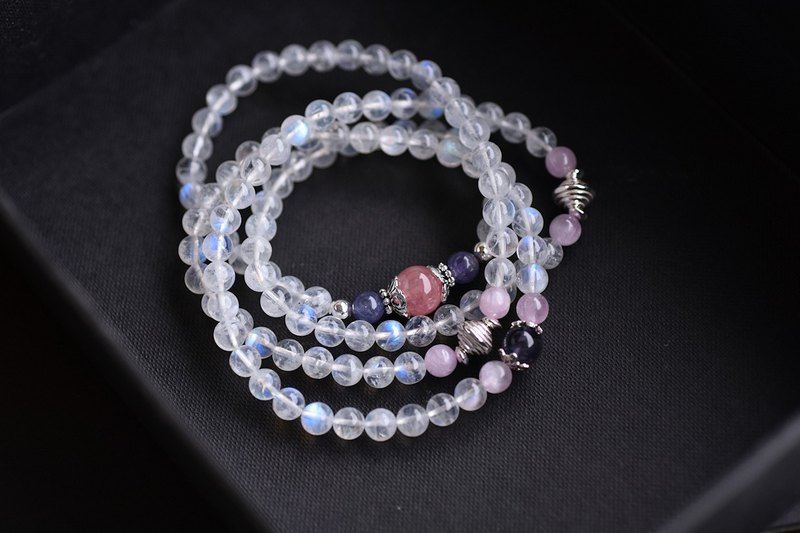 Danquan stone + purple spodumene + powder crystal + moonstone 108 beads / multi-ring bracelet