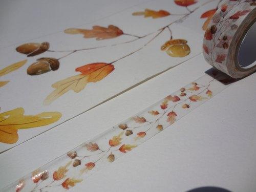 手绘水彩纸胶带~秋天果实