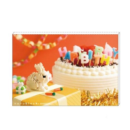 迷你積木 x 明信片 萬用/生日卡【小白兔】 nanoblock x postcard 日本製