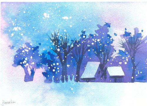 """圣诞卡片""""疗愈系树林系列1-102""""水彩手绘限量版明信片/贺卡"""