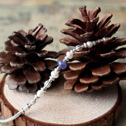 Journal 河之子 / 淡水珍珠、丹泉石、純銀手鍊手環
