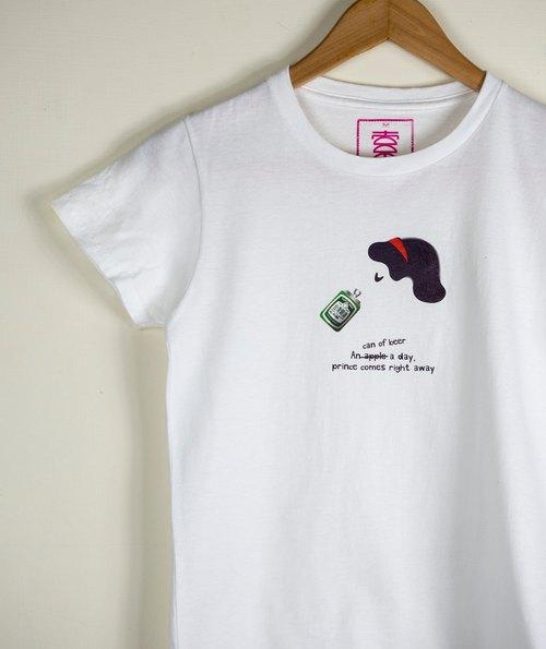 原創插畫圖TEE - 圖索經典白雪公主系列(台灣啤酒)  短袖 趣味圖TEE T-Shirt 童話故事 幽默風格