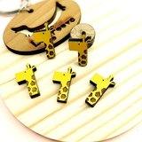 我愛動物園系列-長頸鹿(2入) Giraffe 平貼耳針/舒適夾式 可愛 飾品 創意 手作設計 耳釘