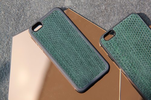 Phone case - Sea snake skin - Pine green.