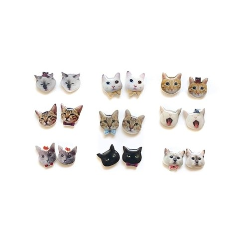 {手作.预购} 我们的欢乐小猫 925纯银耳针耳环一对 小猫咪头/8款