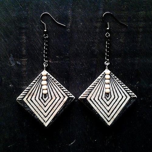 deco木制手绘几何图形黑色耳环