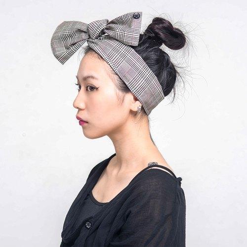 Corsage 格紋頭領巾 兩用 Taiwan design