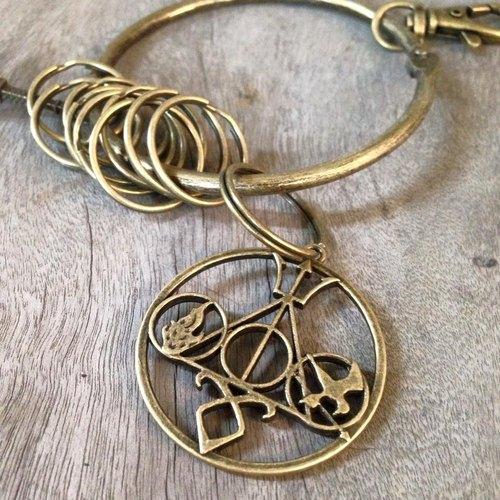 鑰匙圈/仿舊復古守門人大鑰匙圈-生存象徵學舌鳥MIX死神聖物天秤