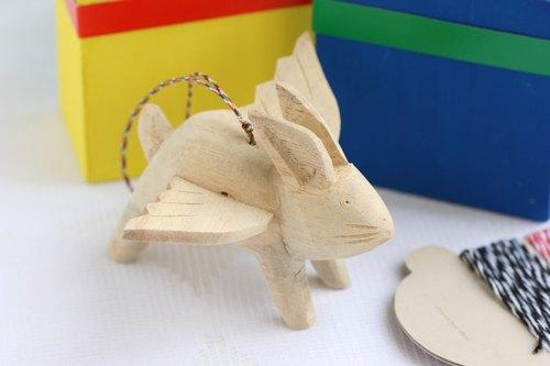 手工木刻--小飞兔