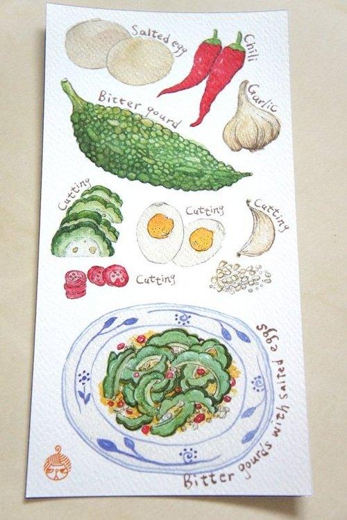 針線球 常在家的家常菜明信片-鹹蛋苦瓜(單)