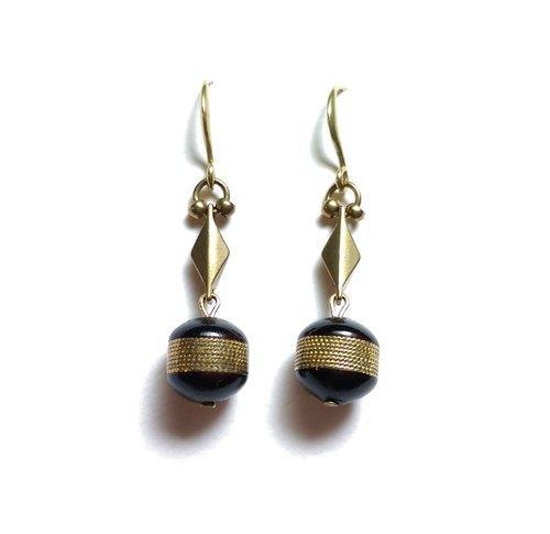 Zulu Huntress非洲椰子古董珠黃銅耳環