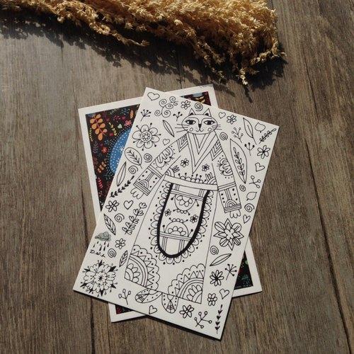 D.W.L'S LITTLE SHOP-貓 可愛貓咪 獅子 原創明信片/賀卡/禮品卡/填色卡/裝飾畫
