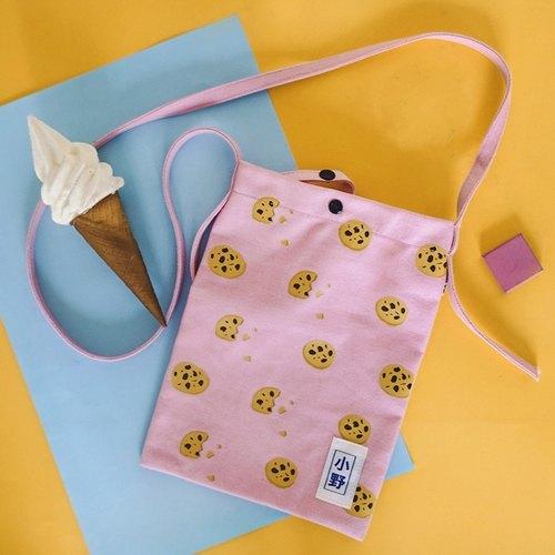 小野/xaoye 01 小食系列2 細單肩斜跨帆布包 粉色餅干