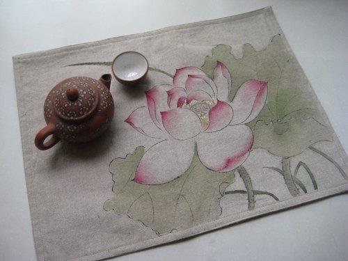 原创设计 国风手工布艺 手绘餐垫 茶席