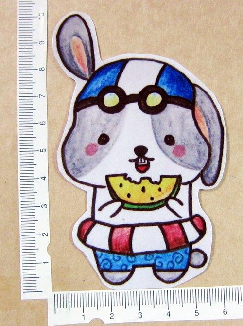手绘插画风格 完全防水贴纸 夏日 兔兔男孩 吃西瓜