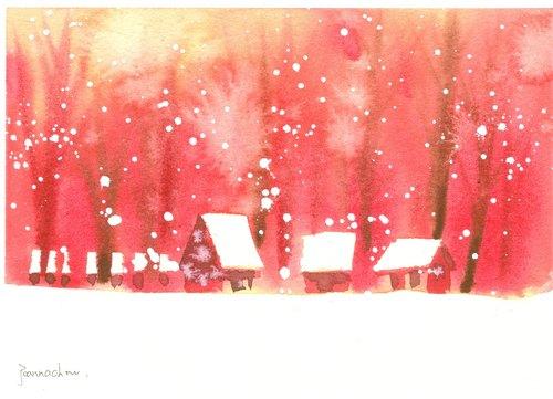 圣诞卡片「疗愈系树林系列1-90」水彩手绘限量版/贺卡