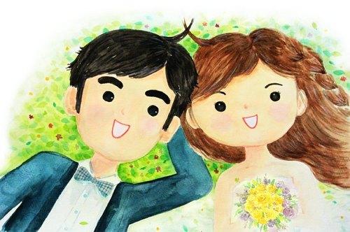 a4客制化婚礼,情侣,宠物插画(水彩)含背景 - dora li