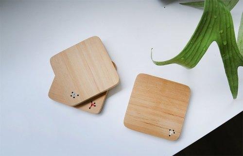 家庭树木头杯垫.台湾桧木制作的家庭礼物::12种颜色