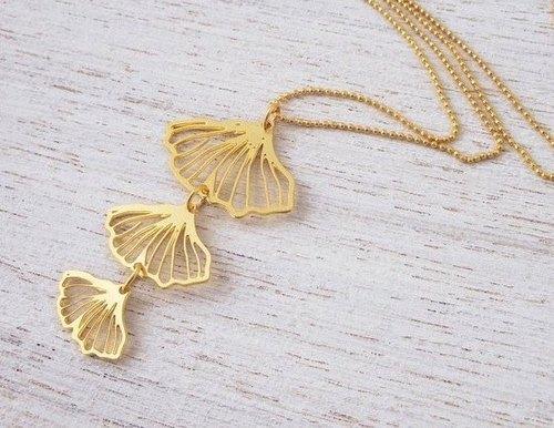 以色列设计师手工饰品 银杏叶项鍊(金,银两色)图片