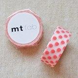 mt 和紙膠帶 fab 植絨系列【水玉款 白+橘粉(MTFL1P12)】