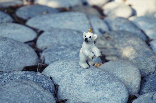 听听北极熊的心声 手工陶瓷立体动物造型项链 白色雪地上小可爱