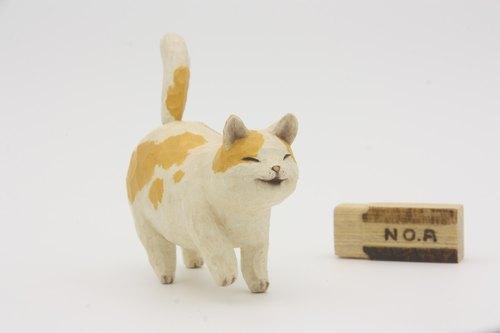 疗愈系木雕小动物_胖花猫_黄斑 cat (原木手工雕刻)