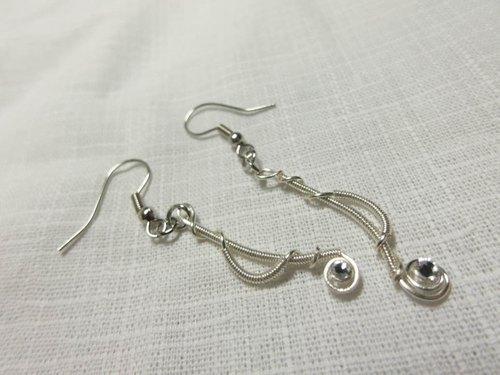 mishug蕨类金属线设计-手工-耳环