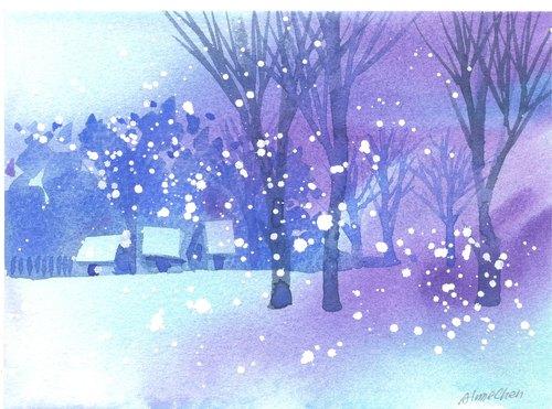 「疗愈系树林系列1-117」水彩手绘限量版明信片/圣诞