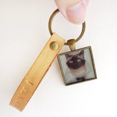 **客製量身**FaMa‧s 毛小孩真皮鋼印鑰匙圈*吊飾(cat貓dog狗)