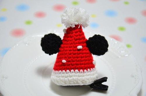 欢乐圣诞 - 毛线编织 可爱圣诞帽发夹