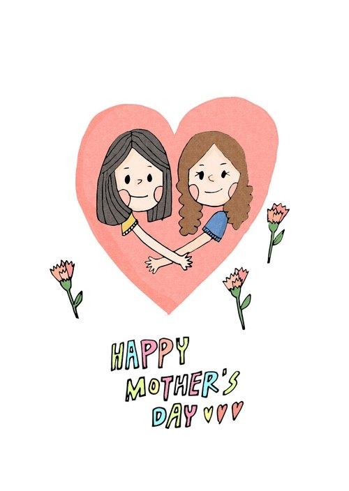 母亲节快乐| 插画明信片