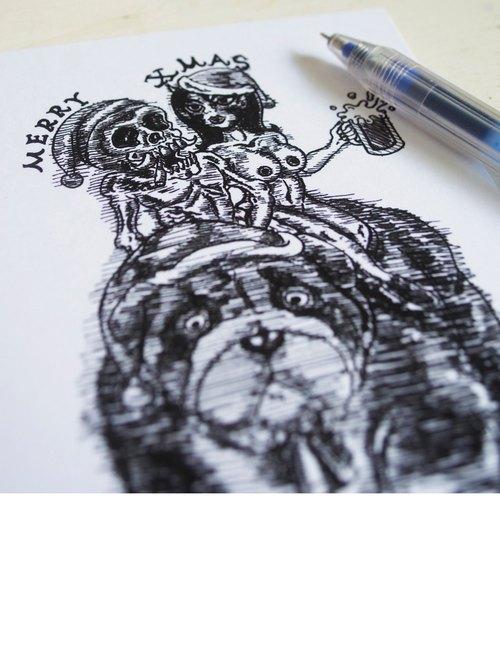 ARTtitude 黑色聖誕派對-系列聖誕卡 插畫風 設計師款 系列3-裸女與骷髏的夜
