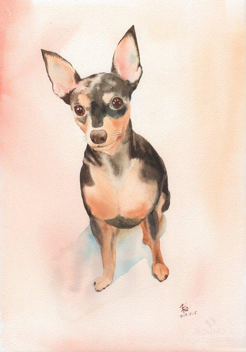 Pet painter-寵物水彩肖像畫(8開含框)