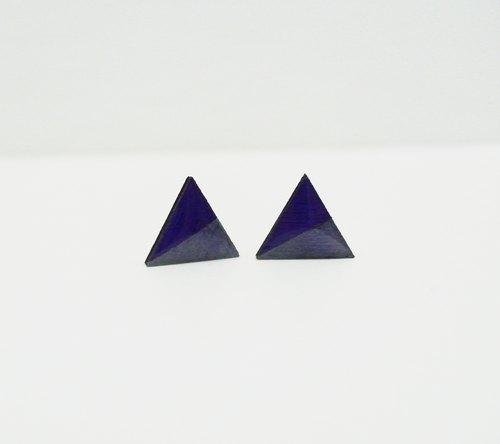 手绘彩色块三角木制时光耳环