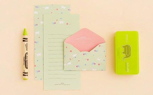 ardium 可爱动物信纸组(一组三份)- 绿底猫咪