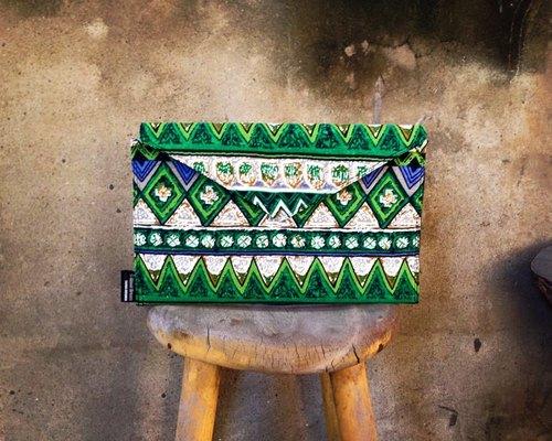 【手拿包/側揹包/信封包Dream Bag-民俗鮮豔配色-綠】
