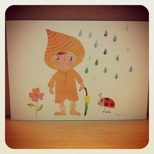 雨衣女孩 ( 手绘卡片 )