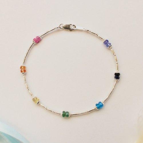 Journal 彩虹 / 紅 藍寶石、磷灰石、祖母綠、丹泉石、純銀手鍊手環